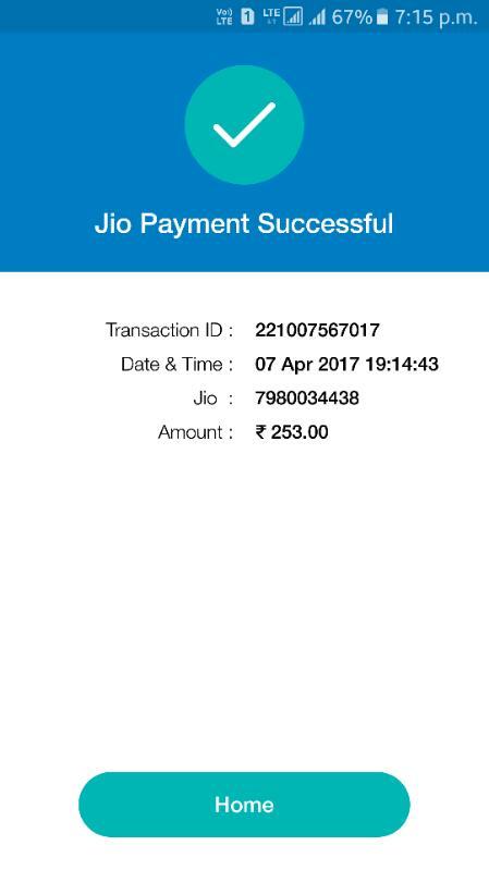 Reliance Jio Infocomm — 303 plan recharge success but not done