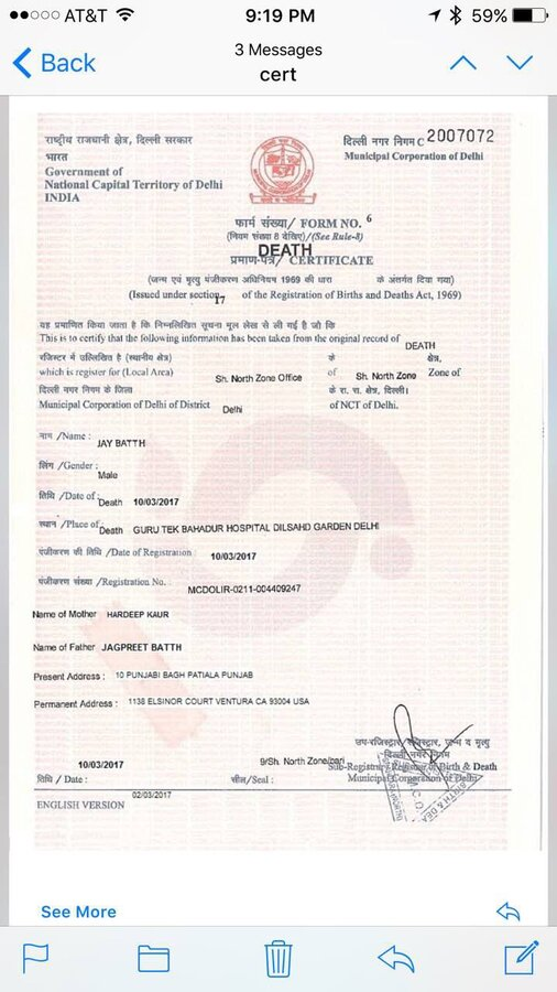 Municipal Corporation Of Delhi North Zone Regarding Fake Death