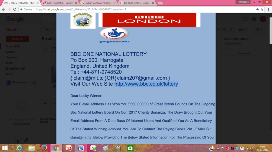BBC One National Lottery — I'm complaint about email