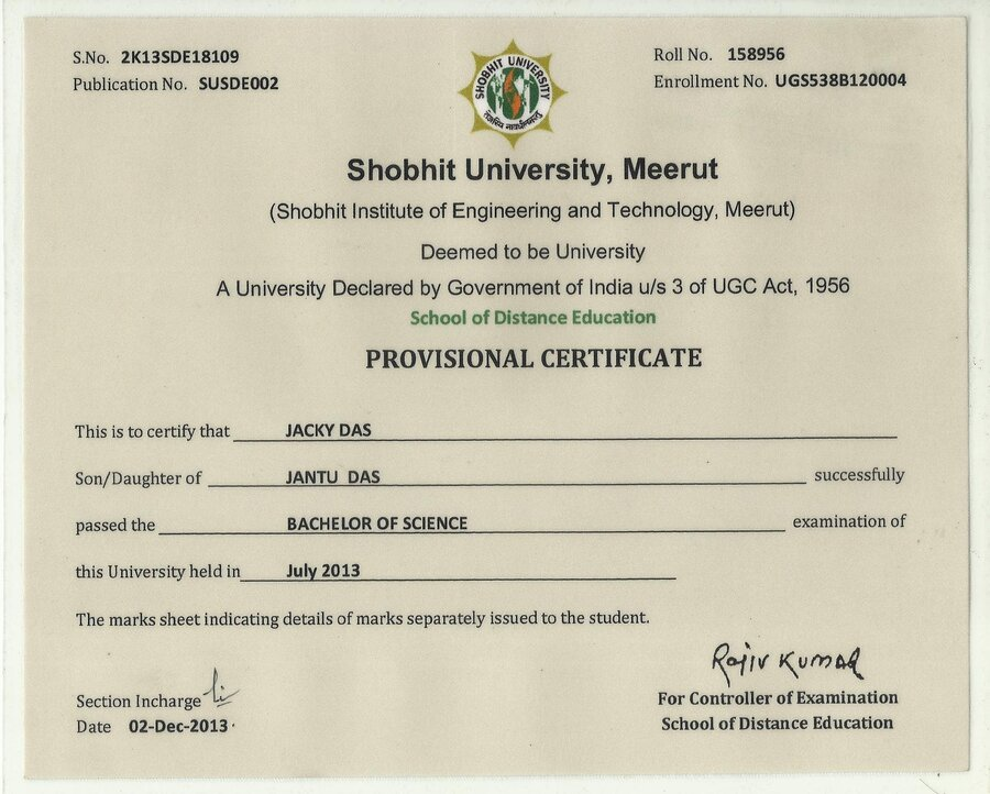 Shobhit University Original Certificate And Rti Reply Not Received