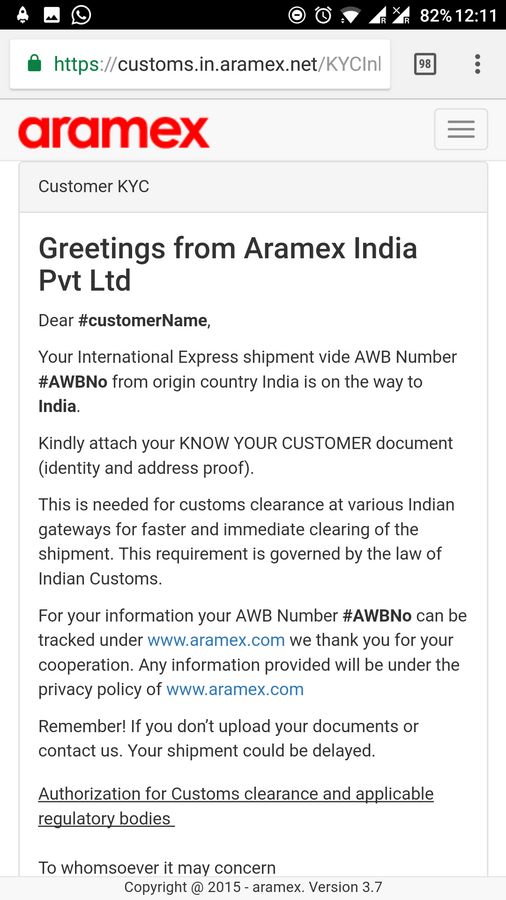 Aramex Couriers — KYC link invalid