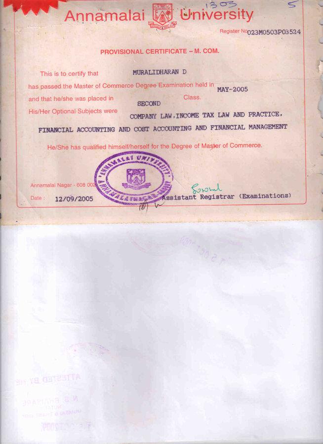 Annamalai University Not Yet Received
