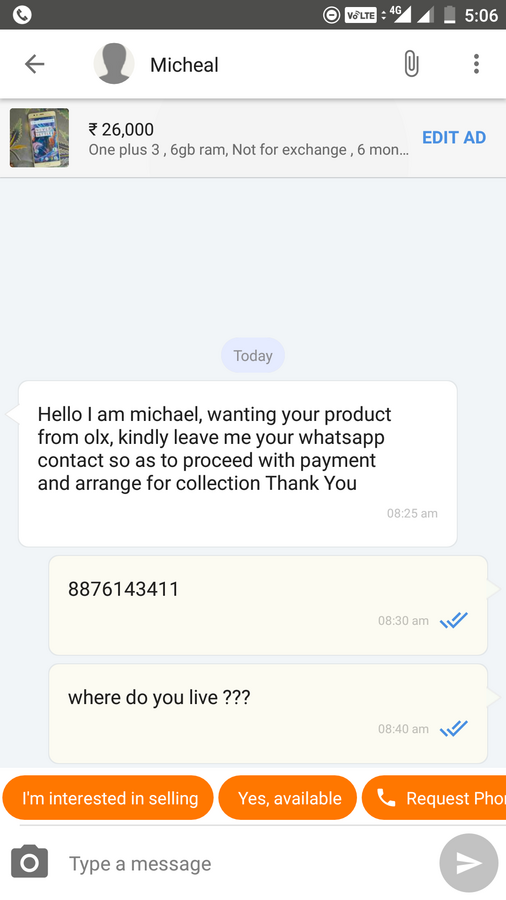 Resolved] OLX India — Unable to chat with buyers: