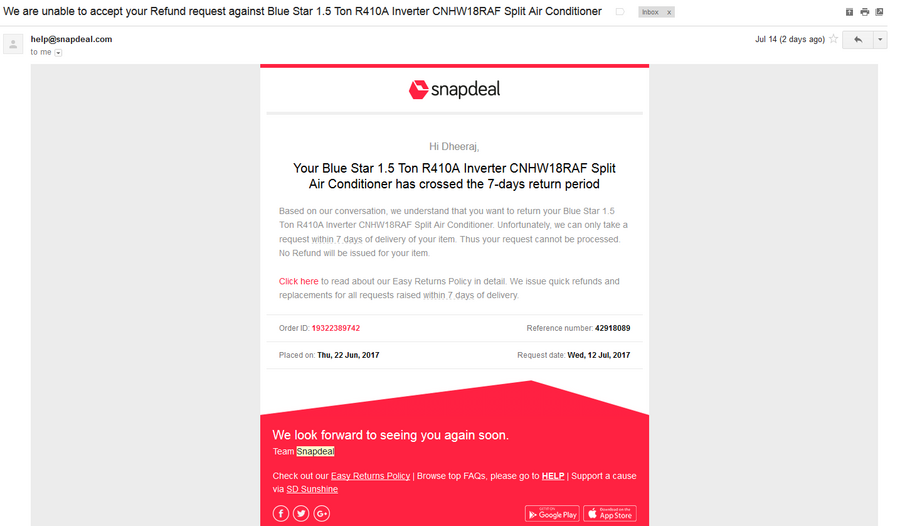 Resolved] Snapdeal com — late delivery and inefficient product