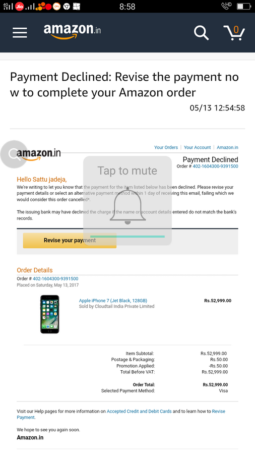 Amazon India — received payment not refund