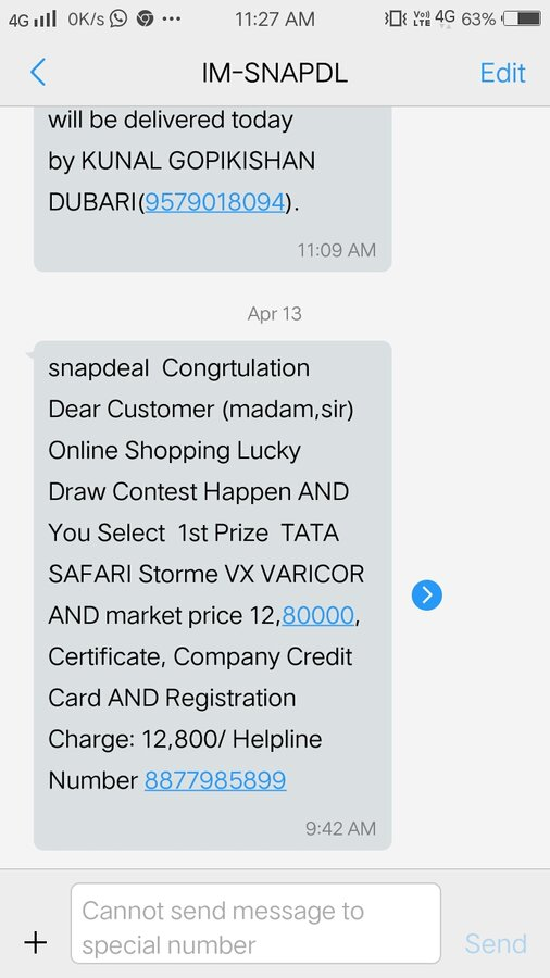 61e2d50e2 Resolved  Snapdeal.com — I received a call saying I won a lucky draw ...
