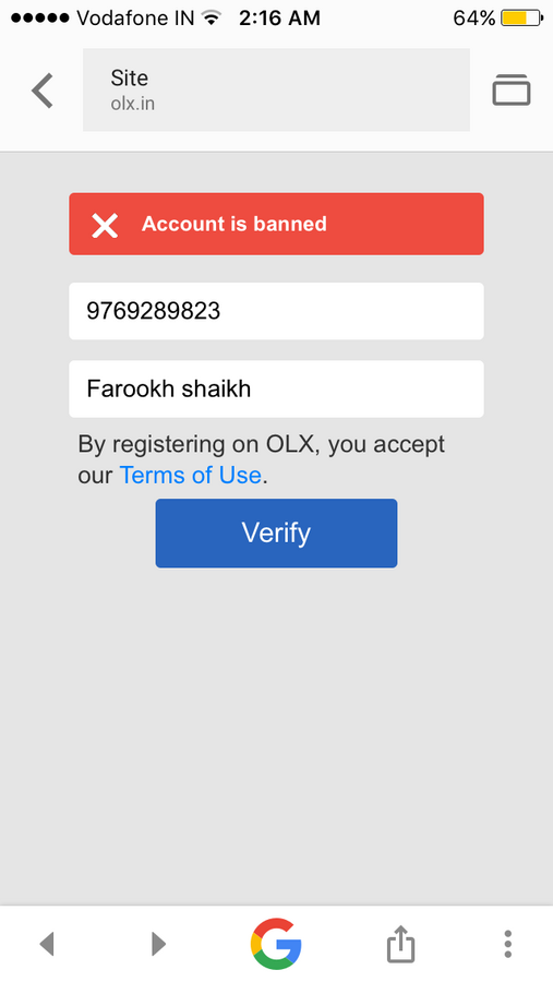 Resolved] OLX India — banning my account