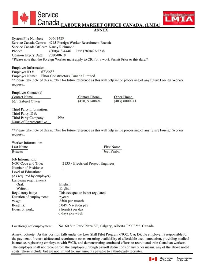 From Company Limited Canada Constructors Permit And Work Hr Job Offer — Fluor Fake