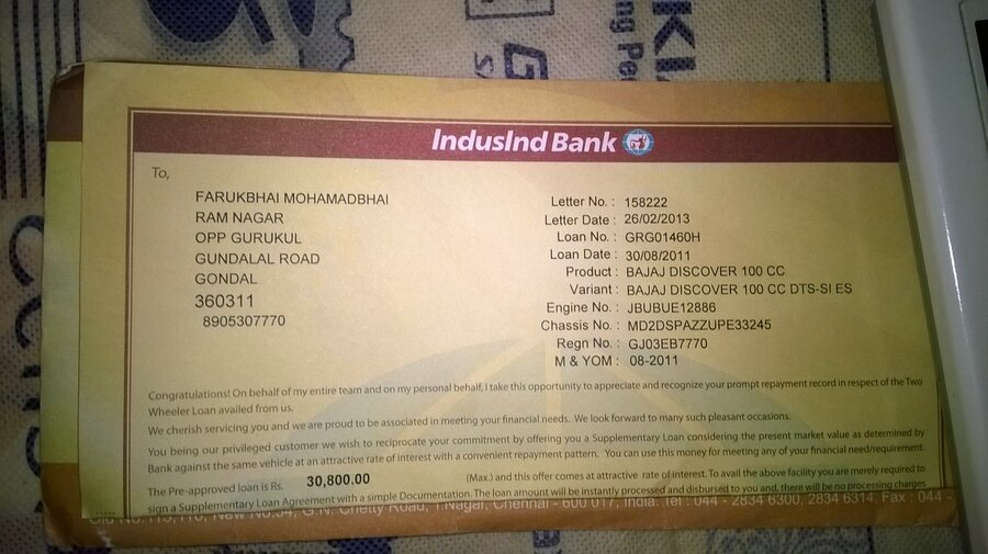 Resolved indusind bank two wheeler noc and form 35 not received resolved indusind bank two wheeler noc and form 35 not received spiritdancerdesigns Images
