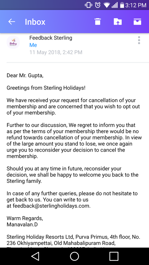 Sterling Holiday Resorts — cancellation of membership and refund