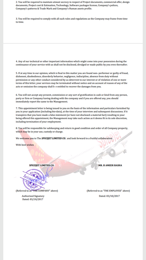 Spice Jet Airlines — offer letter and appointment order