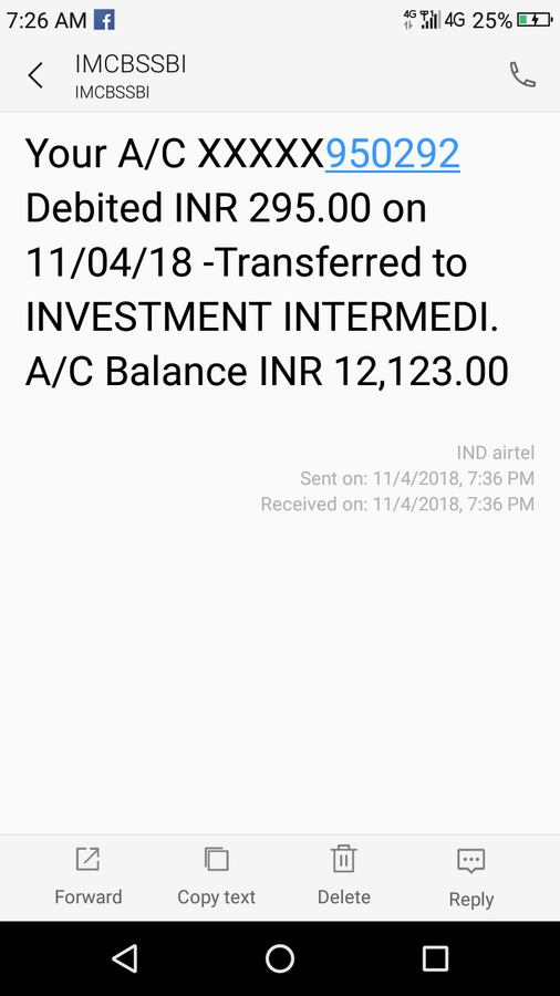 State Bank Of India [Sbi] — amount debited / transferred to