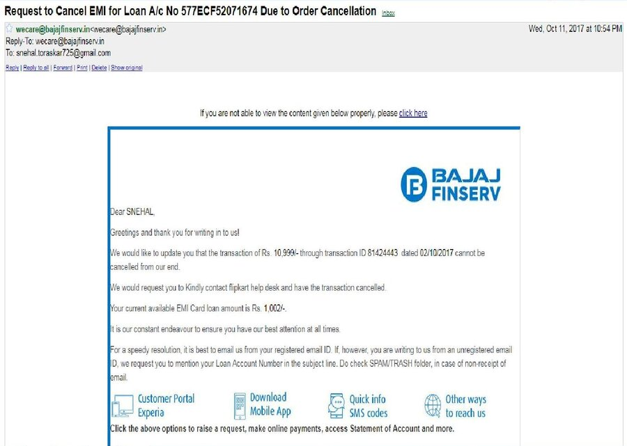 Resolved] Flipkart — refund not credited to my bajaj finserv emi card