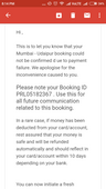 amount deducted from bank but booking failed