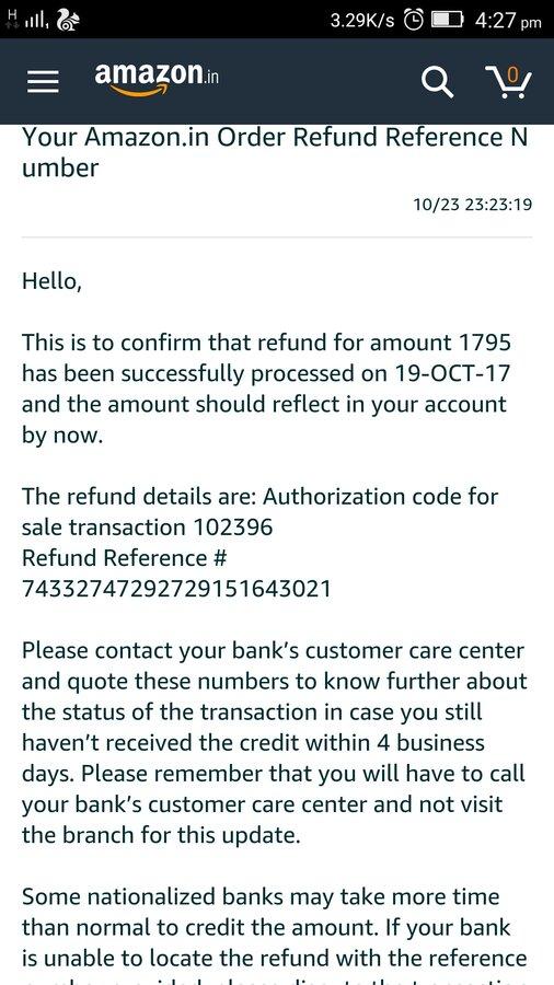Canara Bank — return and refunds