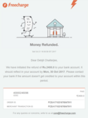 refund not credited within 7 working days as promised by freecharge