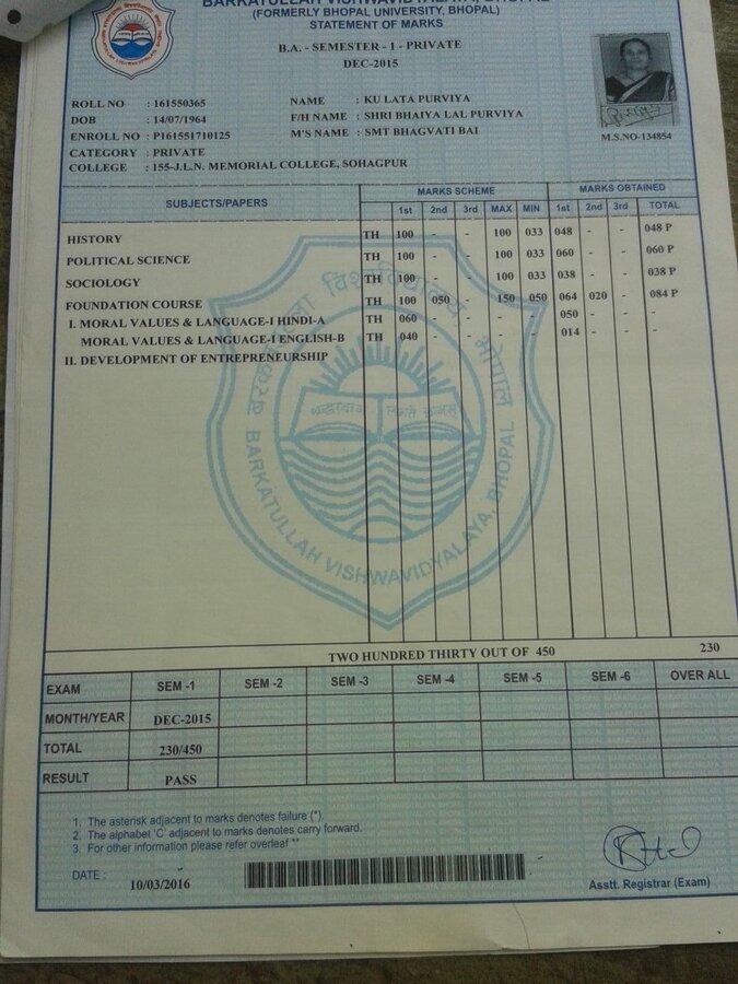 Barkatullah University — regarding correction of date of birth in on