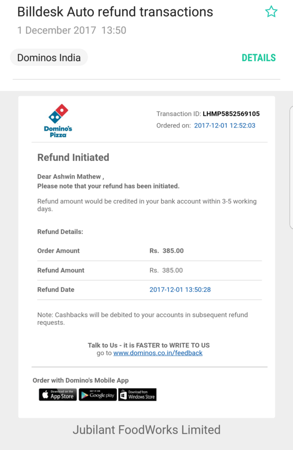 Resolved] Domino's Pizza — order unsuccessful but amount debited