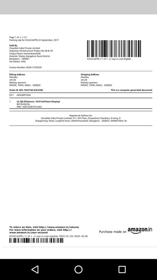 Lg Electronics — lg service center denied my lg q6 screen