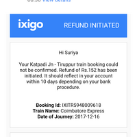 Ixigo — refund of money