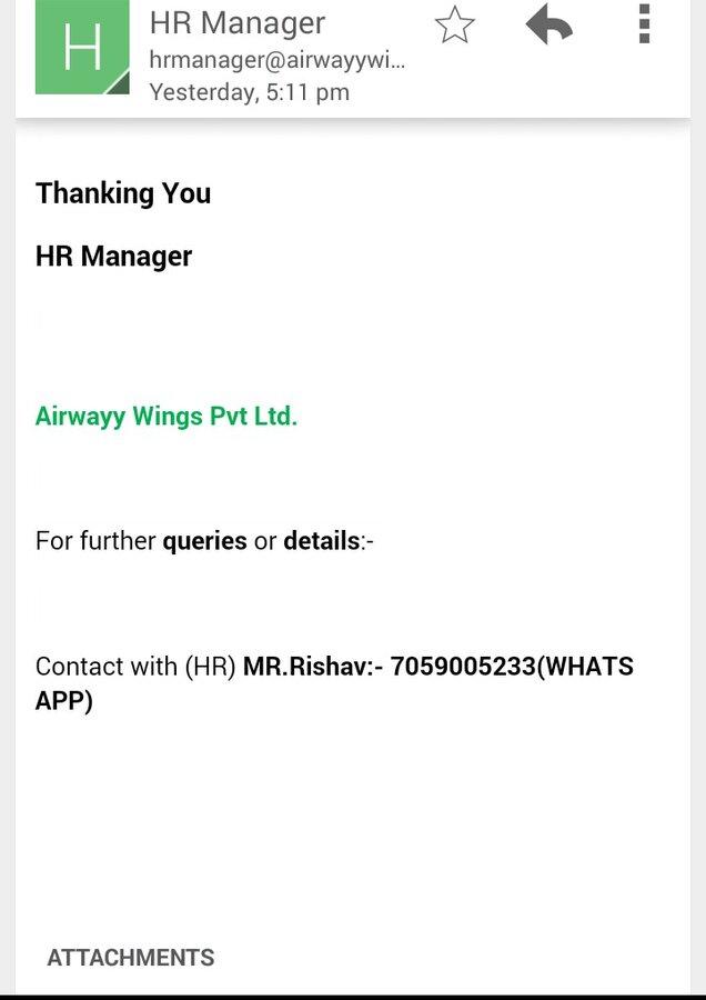 Airwayy Wings Pvt Ltd — online job offer cheating