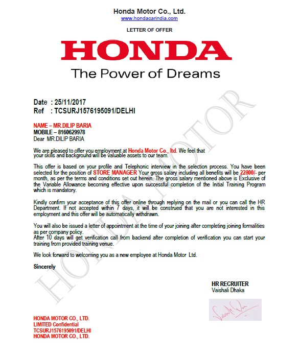 Honda Cars India Ltd Company Person Says Lies For Job Recruitment