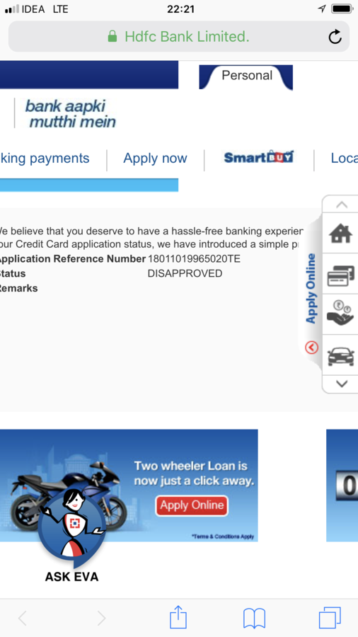 Resolved] Hdfc Bank — credit card