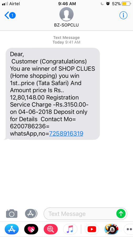 Shopclues com — lucky draw winner