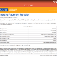 Resolved Reliance Life Insurance — receipt for premium paid