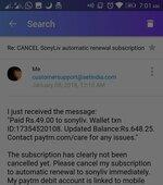 Sonyliv — subscription auto renewal cancellation