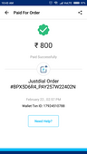unauthorised transaction using my paytm account on justdial