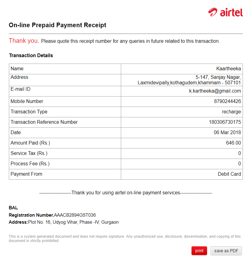 Airtel — wrong recharge to another airtel number