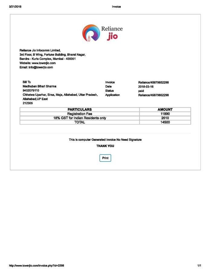 Reliance Jio Infocomm — jio tower installation fraud