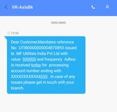 axis bank sms mandates for debit - frequency ad hoc