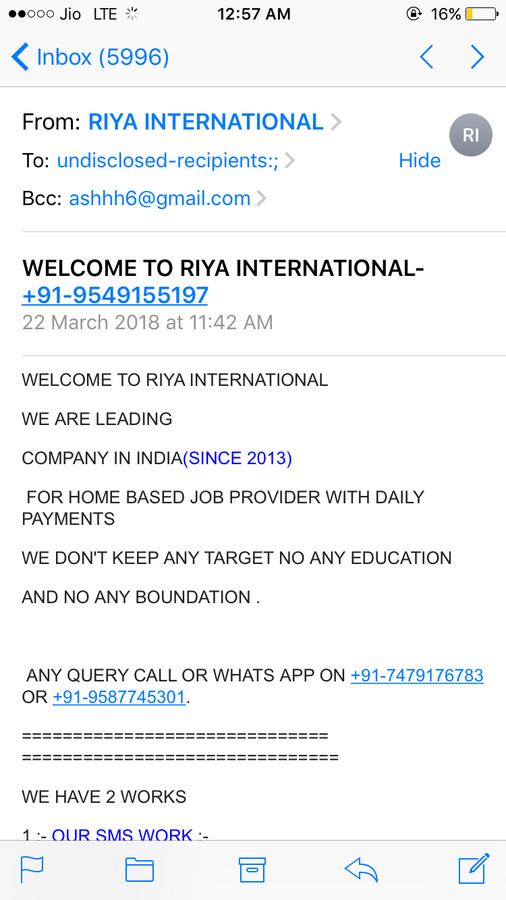Resolved] OLX India — fake job offer from riya international