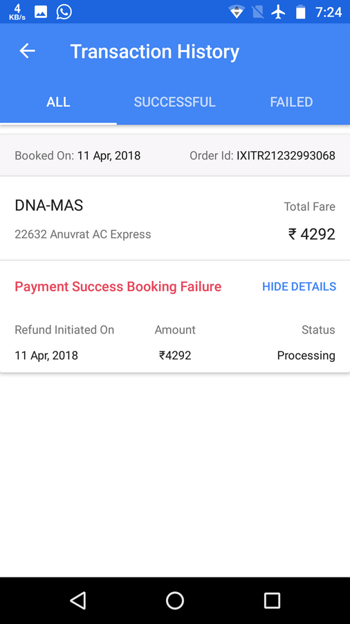 Resolved] Ixigo — refund my ixigo train booking money