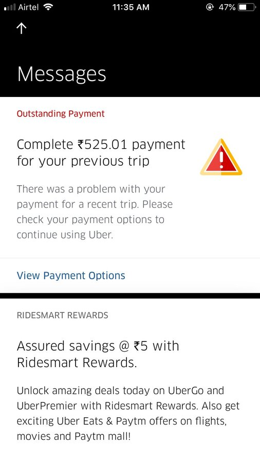 Uber India — outstanding payment issue