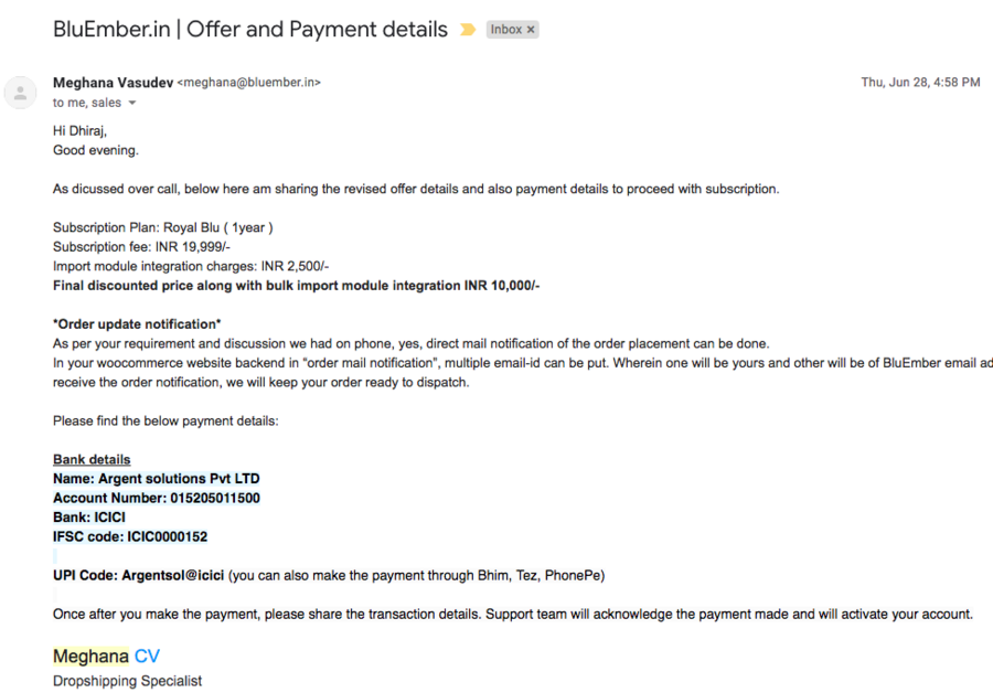 Bluember in — no refund on cancellation, no customer support