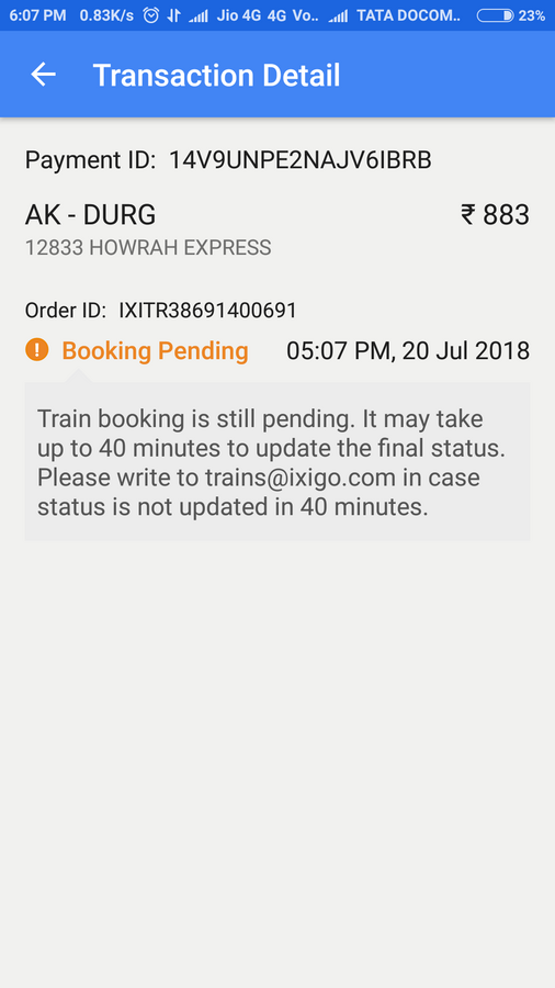 Ixigo — booking pending