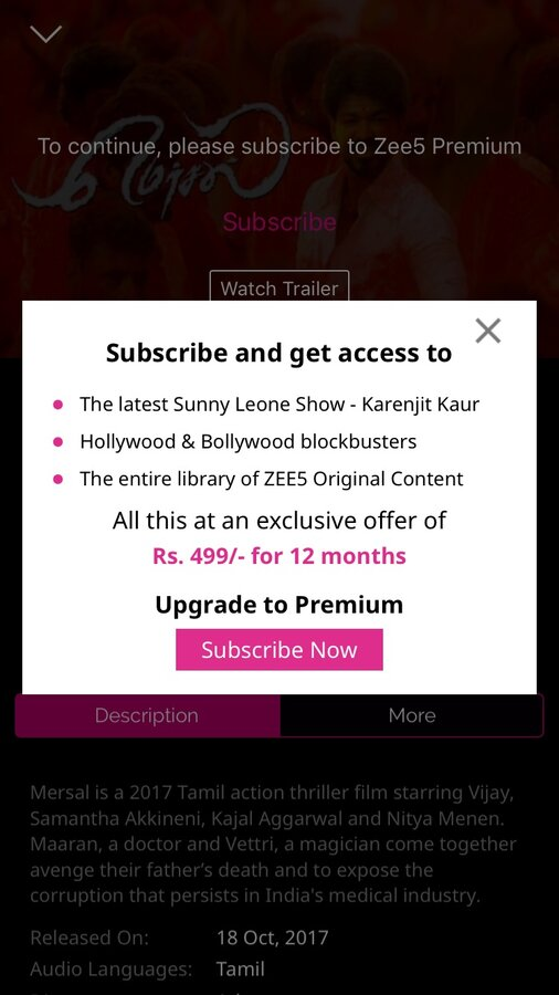 Zee Tv — unable to access zee5 premium subscription