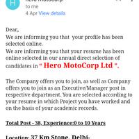 Hero Motocorp — fraud recruitment