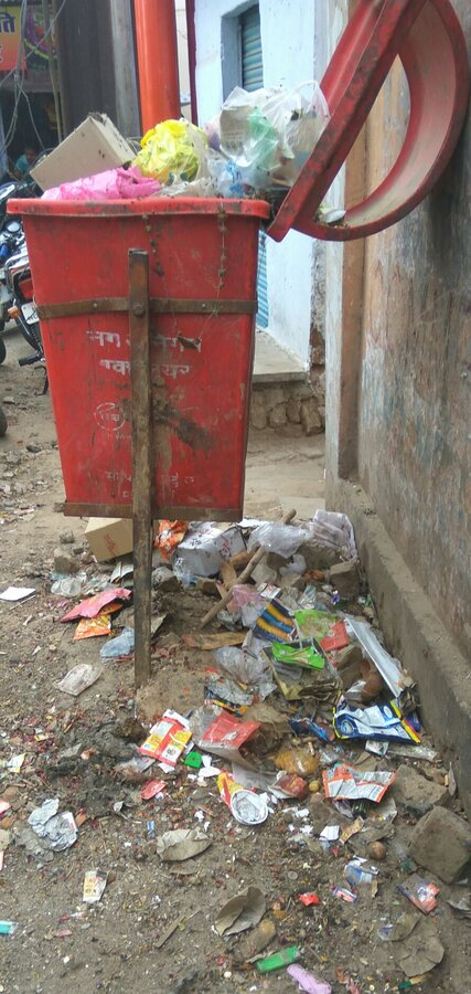 Nagar Nigam Gwalior — garbage in front of house