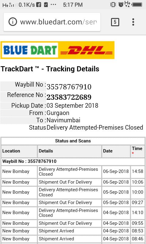 Resolved] Blue Dart DHL — courier service