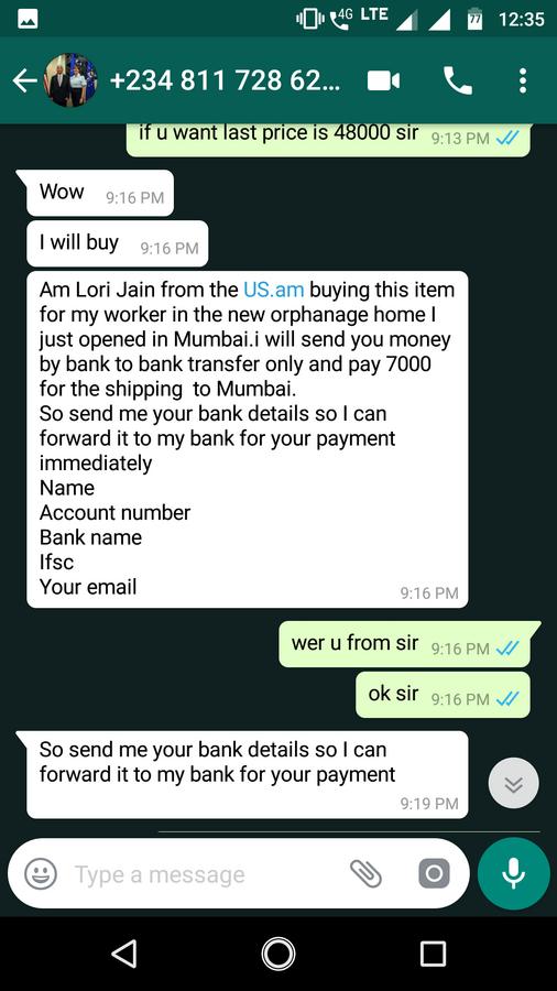 OLX India — fraud buyer
