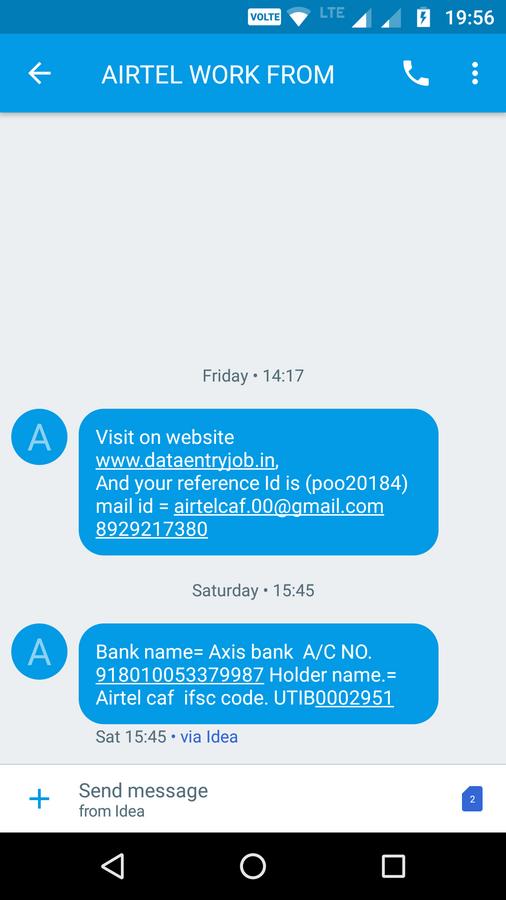 Airtel Caf Form Filling Job — no refunding registration amount