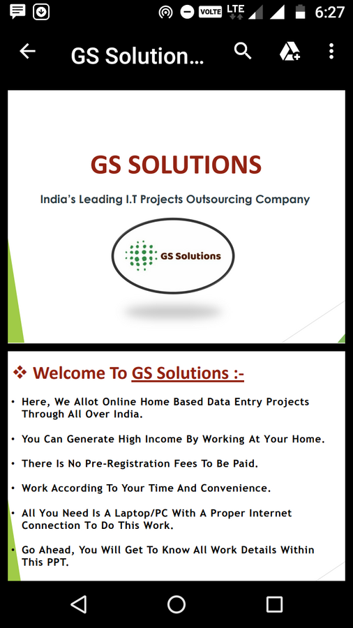 G  S Solution — I m complaining about online data entry job