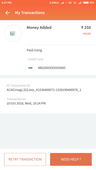 added amount in wallet got failed but amount not refunded