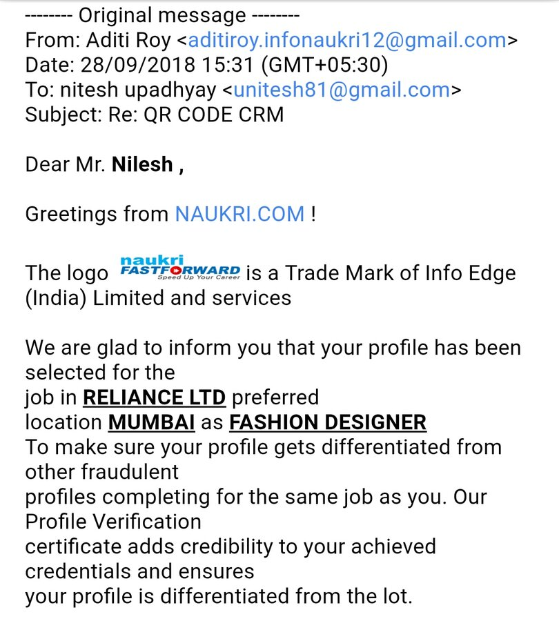 Resolved Naukri Com Refund Of My Payment For Job