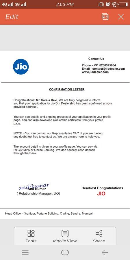 Reliance Jio Infocomm — fraud behalf on jio infocomm limited