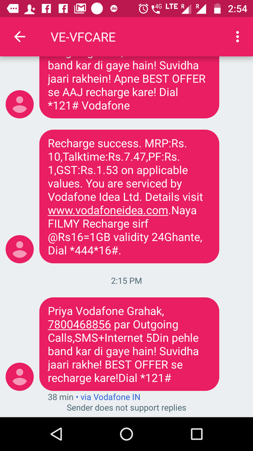 Vodafone India — validity expired